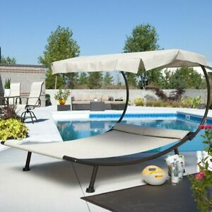 Outdoor Double Chaise Lounge Canopy Chair Poolside Daybed ...