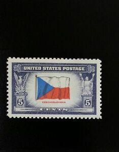 1943-5c-Czechoslovakia-Flag-Overrun-Nations-World-War-II-Scott-910-Mint-F-VF-NH