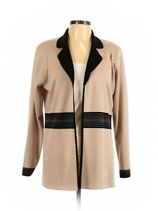 Women-Exclusively-Misook-Tan-Black-Open-Front-Cardigan-Tunic-Size-M