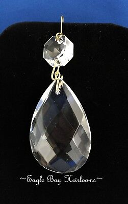 """NEW 4/"""" SOLD INDIVIDUALLY LONG CLEAR CRYSTAL U-DROP PRISM W// BRASS PINS 100mm"""