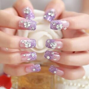 3D-Glitter-Party-Artificial-Nails-Purple-Color-Shining-Rhinestone-Wedding-Bride