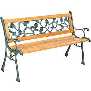 Détails sur Banc de jardin banc banquette mobilier de jardin bois Banque  Fonte Bois Dur roses- afficher le titre d\'origine