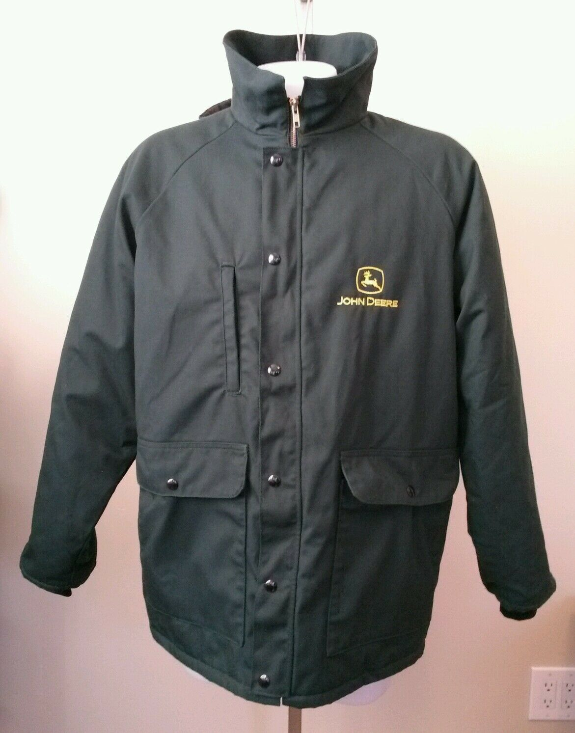 Mens Predexall by DeMoulin Green JOHN DEERE Quilted Lining Zip Snap Front Sze XL