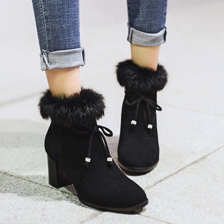 Forro de piel de mujer punta rojoonda cálida con Cordones Tacones De Bloque Zapatos Botín de invierno Y868