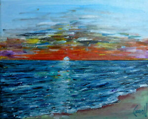 canvas-A-WONDERFUL-SUNSET-8x10-beach-shore-oil-painting-original-signed-CROWELL