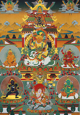"BLESSED 32"" FORTUNE LUCK THANGKA SCROLL PAINTING  VAISHRAVANA & FIVE JAMBHALAS"