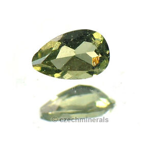 0.19cts pear 5x3mm moldavite faceted cutted gem #BRUS640