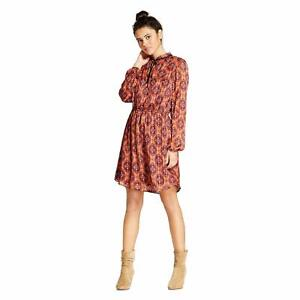 New-Xhilaration-Women-039-s-Lined-Tie-Neck-Long-Sleeve-A-Line-Mini-Dress-Copper