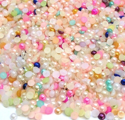 ❤️ LOT 200 CABOCHONS MIXTE DEMI PERLE 3MM EMBELLISSEMENT SCRAPBOOKING