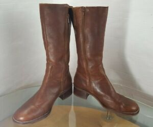 Brown Leather Knee High Boots Size 9 W