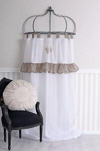 Schlaufenschal-Weiss-Vorhang-Stickerei-Gardine-Shabby-Chic-Schlaufenvorhang