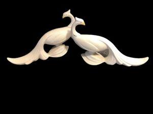 Vintage-MCM-Maddux-California-White-Pebbled-Finish-Stylized-Bird-Figurines-Set