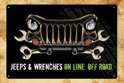garage store jeep wrenches on line off road metal tin sign