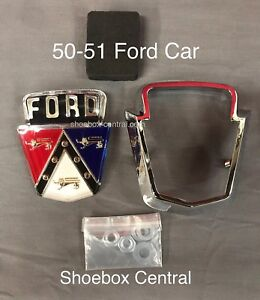 1950 1951 Ford Passenger Complete Deck Trunk Boot Emblem With Chrome Retainer
