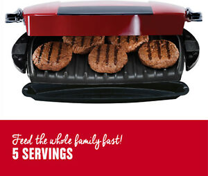 George-Foreman-Indoor-Grill-Panini-Press-Red-5-Serving-Removable-Plate-Electric