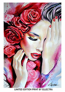 LIMITED-EDITION-PRINT-BY-ELLECTRA-EROTIC-OIL-GOLD-LESBIAN-INTERSET-RED-ROSES