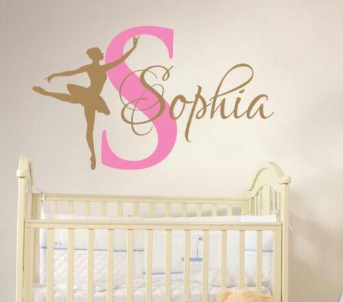 Ballet Dance Custom Girl Name Wall Sticker Nursery Room Wall Décor Mural Art New