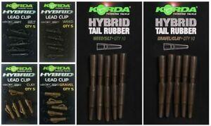 NEW-Korda-Hybrid-Lead-Clip-amp-Hybrid-Tail-Rubber-All-Colours-Carp-Fishing