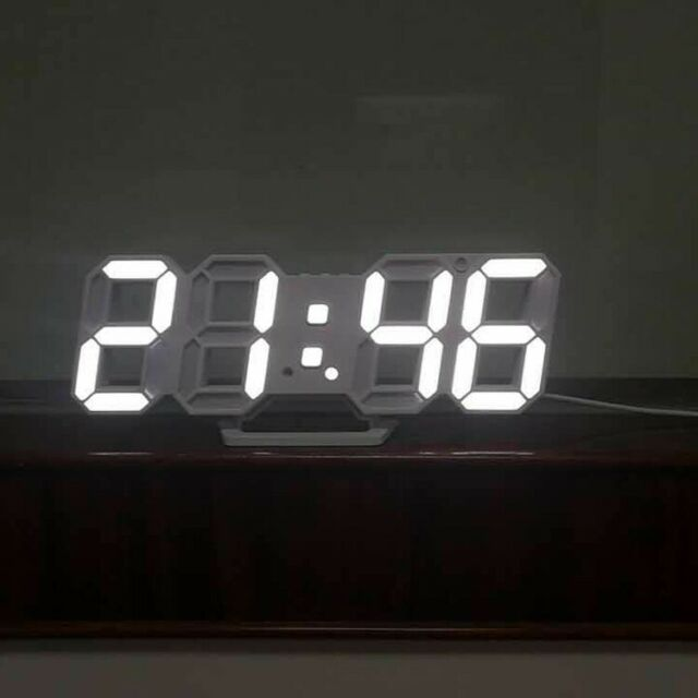LED 3D Display Digital Table Wall Clock Large Alarm Clock Brightness Dimmer USB
