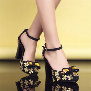 Women-Mary-Janes-Sequins-Suede-Chunky-High-Heel-Ankle-Strap-Round-Toe-Shoes-Size