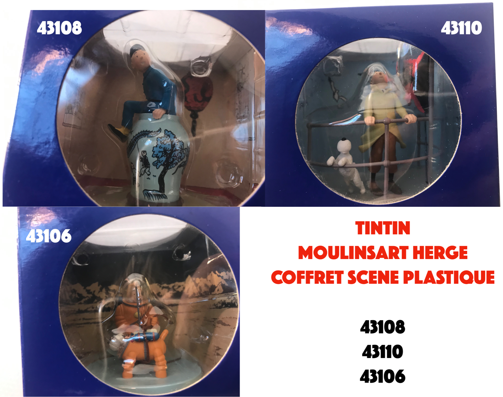 TINTIN MOULINSART HERGE COFFRET SCENE PLASTIQUE 43108 43110 43106