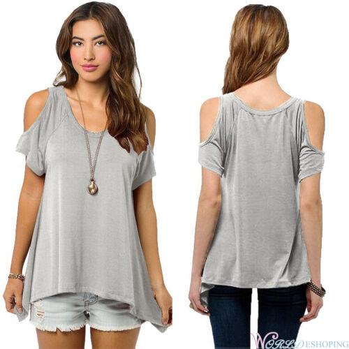 Damen Hemd Oberteile Bluse T-shirts Schulterfrei Shirt Sommer Lose Top Übergröße