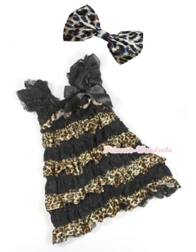 Black Leopard Satin Lace Black Bow Cap Sleeves One Piece Girl Party Dress 1-5Y