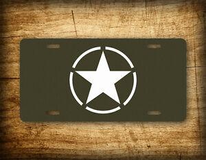 World War II White Star & Circle Emblem Insignia Vintage License Plate WW2 Tag