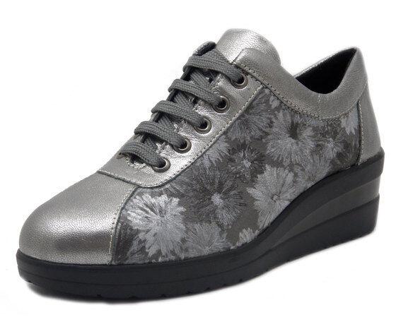 DIVAN, zapatos mujer zapatilla de deporte Comfort Pelle plata plata plata con Zeppa, Plantare ESTRAIBILE  almacén al por mayor
