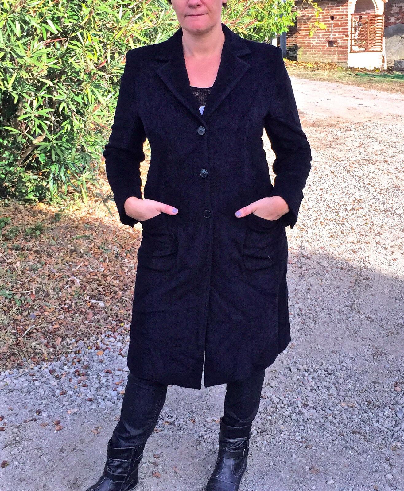 Lussuoso cappotto coat lungo angora black MAX MARA taglia 38 i40 regno unito 8