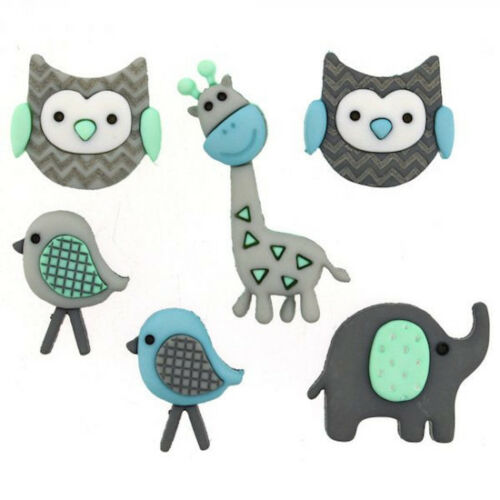 Grey Blue Nursery New Baby Embellishment Jungle Animal Buttons Jungle Baby