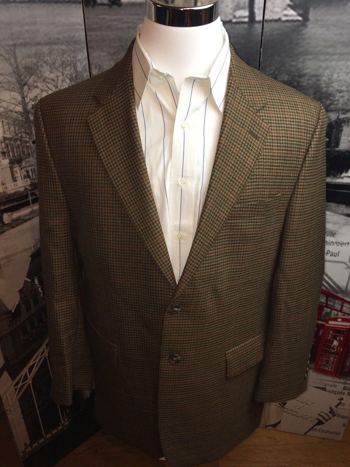 Lauren Ralph Lauren Mens 43R Sport Coat Blazer Brown Houndstooth 100% Lambs Wool