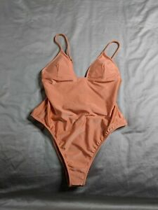 Forever-21-Women-039-s-Sheeny-One-Piece-Swimsuit-OS6-Orange-Small-NWT