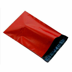 """10 RED Mailing Postage Parcel Post Bags 6.5"""" x 9"""" Self Seal Packaging 165x230mm"""