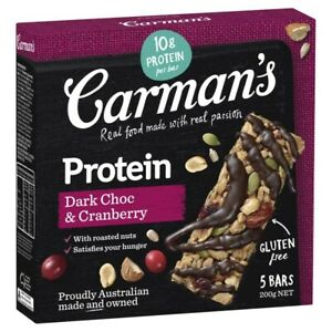 Carman's Dark Choc & Cranberry Gourmet Protein Bar 5 pack 200g