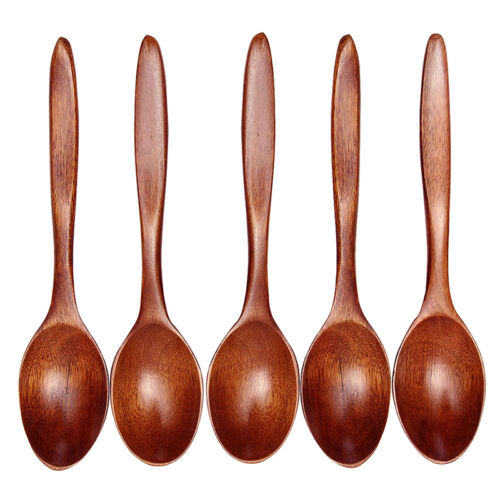 5PCS Lot Wooden Spoon Bamboo Kitchen Cooking Utensil Tool Soup Teaspoon Catering