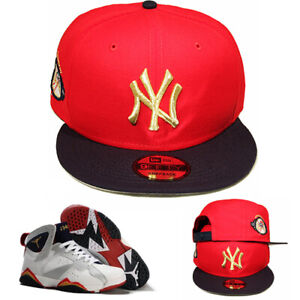 710b56928 Details about New Era New York Yankees Snapback Hat Match Air jordan 7  Olympic Red Navy Gold