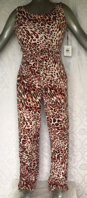 83ac3de31742 Calvin Klein Orange Black Animal Print Sleeveless Wide-Leg Jumpsuit Size 2  NWT