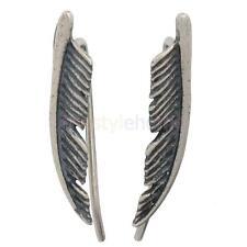 1 Pair 925 Sterling Silver Simple Leaf Ear Cuff Climber Crawler Earrings