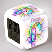 Reveil cube led lumière nuit clock licorne unicorn personnalisé prénom réf 37