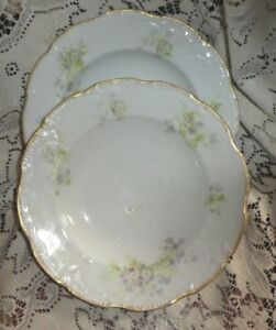 French Limoges Coronet Lavender Purple Floral Rimmed Soup Bowls (2 ...