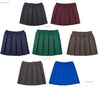 Girls Box Pleated School Uniform Elasticated Waist School Kids Skirt Age 2-18yrs