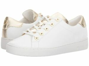 NIB Michael Kors Irving Sneakers MK Logo Leather Optic White Gold ... fc219d05c