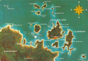 Isole Sardegna Cartina.Cartolina Sardegna Mappa Delle Isole Arcipelago La Maddalena 1985 Ebay