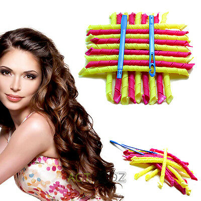 "18 PCS 55CM 22"" Curl DIY Hair Curlers Tool Spiral Circle Magic Styling Rollers"