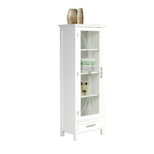 1 Door Bathroom Linen Cabinet Tower Furniture Tall Drawer Shelves White Bath New