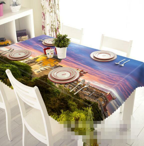 3D Castle Sunset Tablecloth Table Cover Cloth Birthday Party Event AJ WALLPAPER