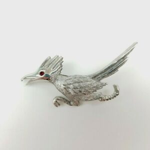 30d7d49f1f88 Ultra Roadrunner Bird Brooch Silver Tone Textured Pin Red Rhinestone ...