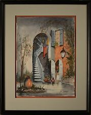 Stunning Nestor Fruge Watercolor of New Orleans Brulatour Courtyard MINT! 2 of 3