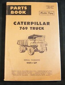 CAT Caterpillar 769 Truck Parts Manual Book Catalog List